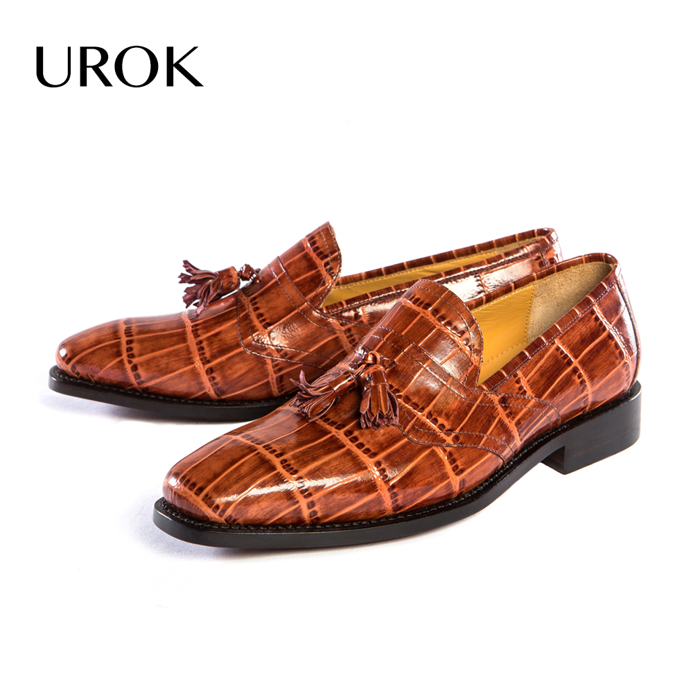 UROK Full Grain Leather Men Tassel Loafers Summer Breathable Goodyear Luxury Slip On Square Toe Driver Business Casual Men Shoes(China (Mainland))