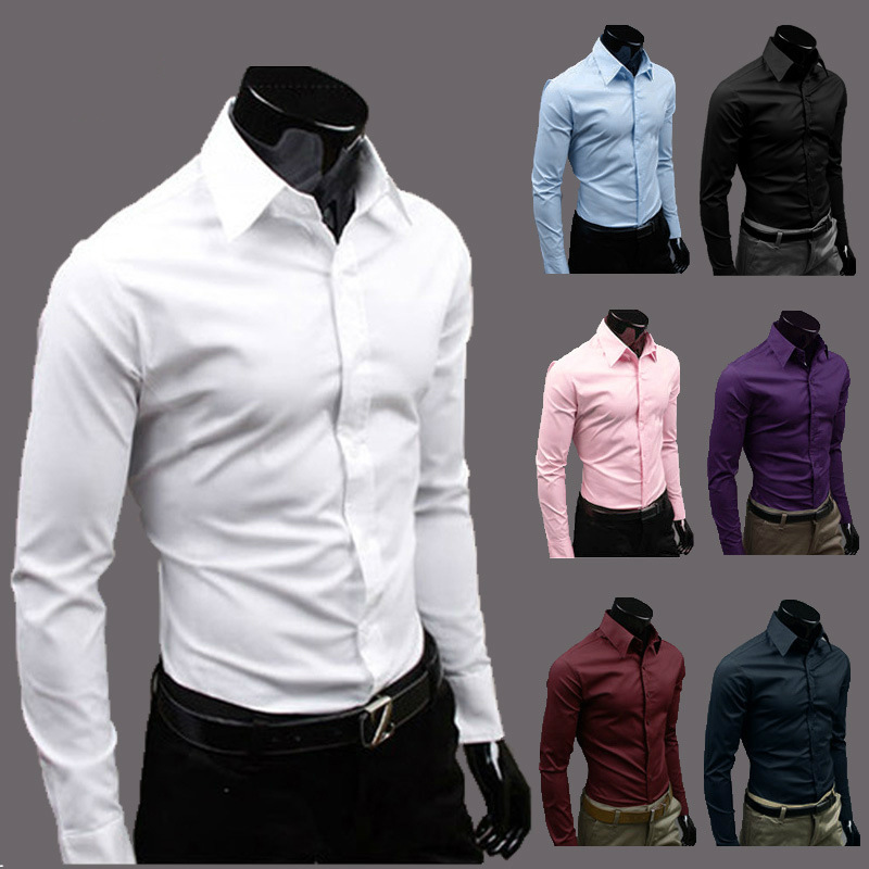 2014 Shirts Mens Business anti-wrinkle Long sleeve Cotton Dress shirts men clothing Pure White Men's 5.99$/piece - Housewife supermarket store