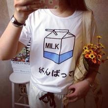 Summer Fashion Women Japanese Harajuku Cute Soft Milk Box Print Loose Short Sleeve T-Shirts Lady Girls Basic Tee T Shirts Tops(China (Mainland))