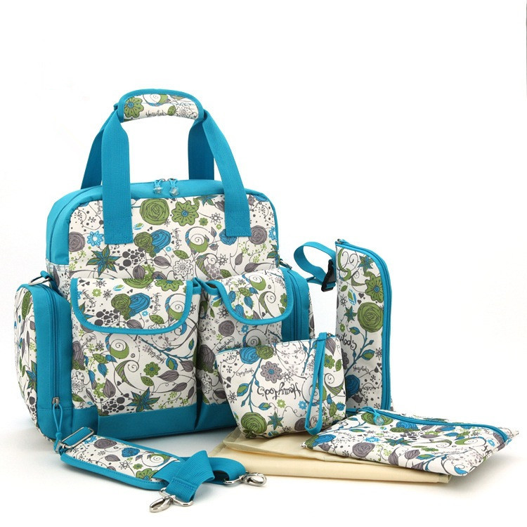 Fashion Large Capacity Multifunction Mummy Backpack Printing Waterproof Baby Changing Bag Baby Diaper Bag Nappy Bags Set(China (Mainland))