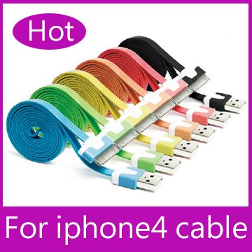 Free Shipping Flat Noodle Colorful Sync Data Charging Charger Adapter Cable for Apple iPhone 3GS 4 4S iPad 2 3 iPod nano touch(China (Mainland))
