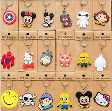15 Models Phone Accessories Cartoon Rings Trinket Soft PVC Keychain Minions Marines Key Holder Key Chains Finder Souvenirs Gift