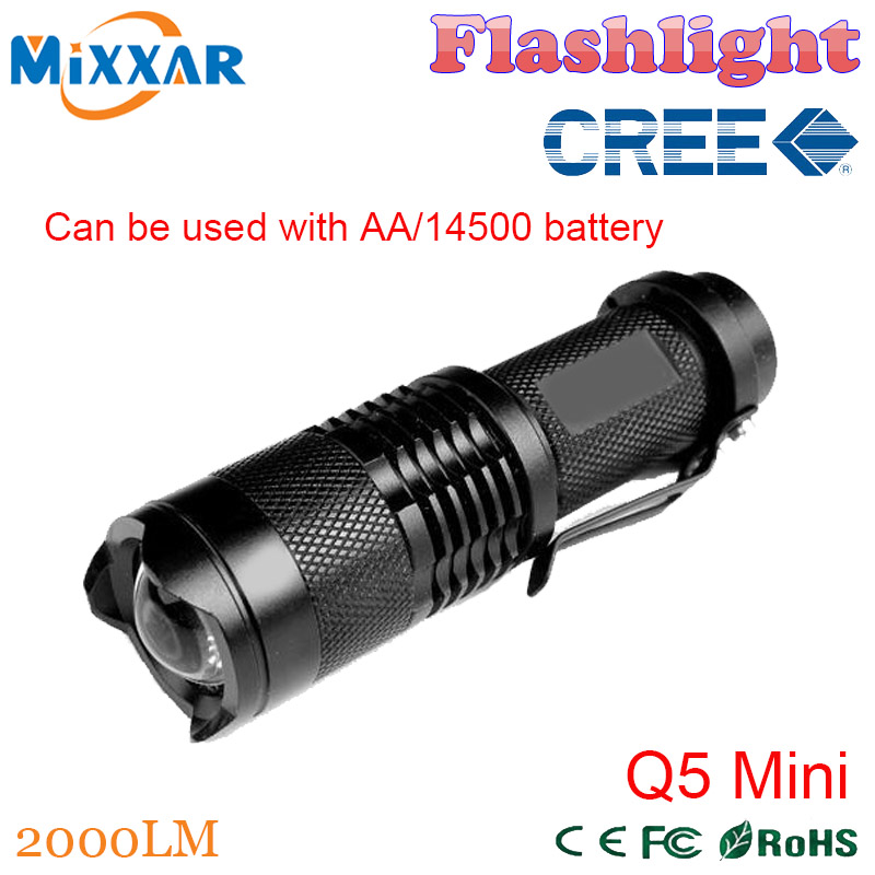 ZK90 Led Flashlights CREE Q5 2000 lumens Aluminum alloy Camping Torch 3 mode Zoomable Focus Cute night light adjustable lantern(China (Mainland))