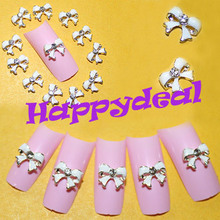 New 10pcs White 3D DIY Bow Tie Butterfly Rhinestones Nail Art Alloy Decoration Glitters Slices For Beauty Nail Tips