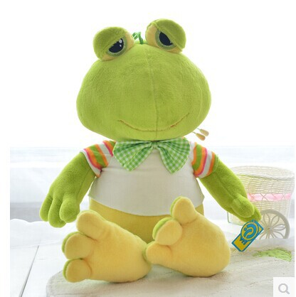 middle size lovely plush frog toy soft green frog doll with bow bitthday gift about 80cm(China (Mainland))