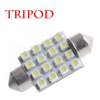 Tripod Brand Festoon Dome 16LEDs SMD 3528 42mm automatic automotive interior white flat light bulb lamp 5w CD00209(China (Mainland))