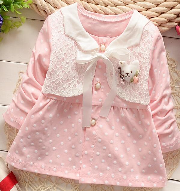 ( 1 шт./лот ) 100% хлопок 2016 симпатичные розовый медведь девочка верхняя одежда