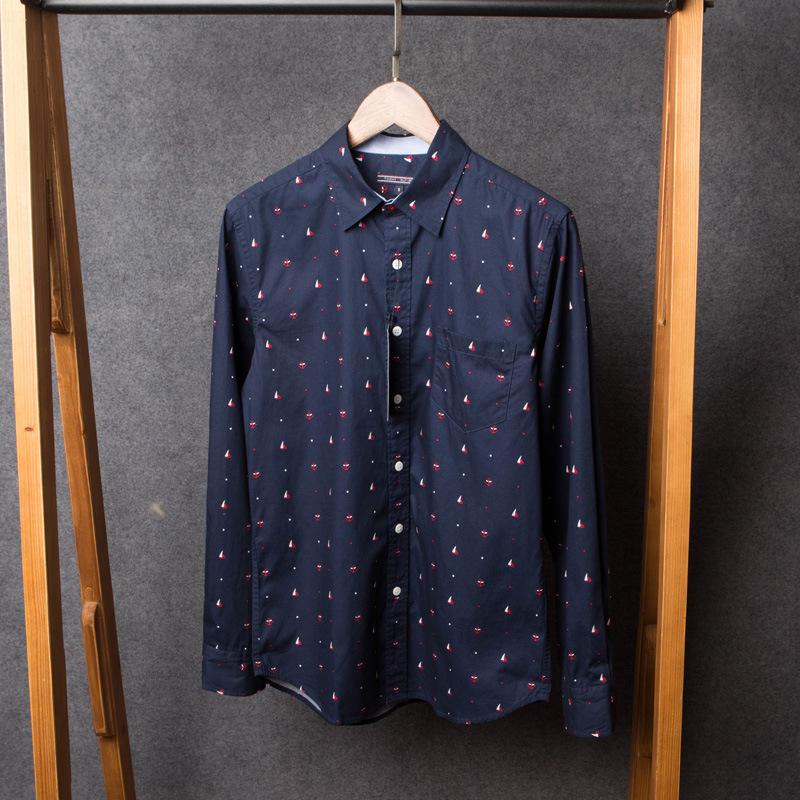 Мужской том высокое качество якорь печать 100% хлопка с длинным рукавом мужской краткое классический деловой свободного покроя рубашка