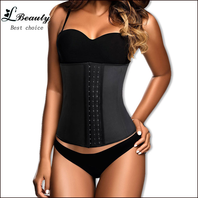 Big Discount! 9 Steel Boned Corset Latex Waist Trainer Waist Training Corsets For Women Latex Waist Cincher Hot Body Shaper