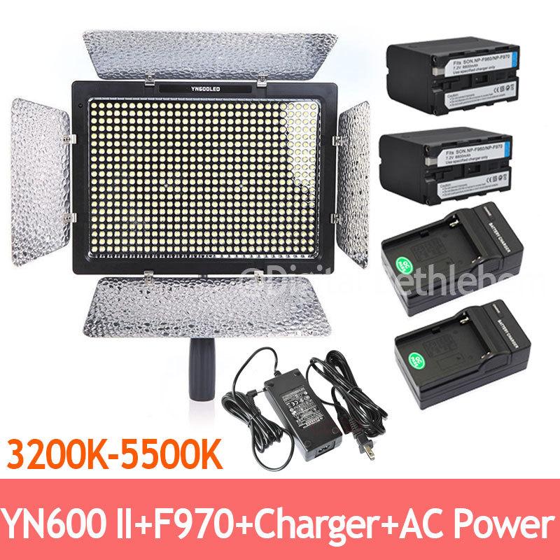 Bi-Color YONGNUO YN600 II 3200k-5500k 600 LEDs Video Light +2 x 6600mAh NP-F970 &amp; Charger<br><br>Aliexpress