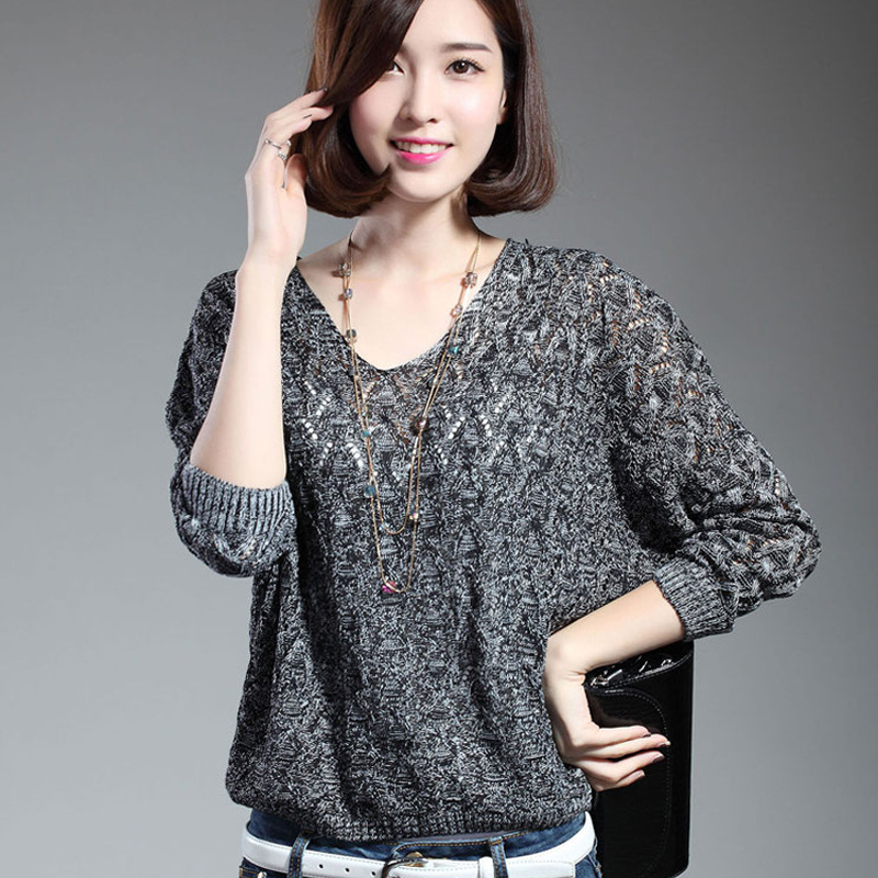 Гаджет  2015 Spring Autumn  Pullovers Women Sweater Lady pullover Bat Sleeve casual Hollow out transparent sexy knitwear sweaters  None Одежда и аксессуары