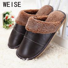 Più il formato 35-44 del cuoio genuino caldo inverno pantofole a casa antiscivolo scarpe da casa delle donne del cotone di spessore caldo uomini pantofole 5 colori(China (Mainland))