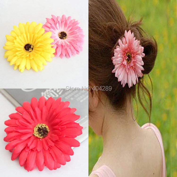 Gerbera Flower Hair Clip Daisy Flower Elastic Hair Bands Woman Flower Hair Fascinator(China (Mainland))
