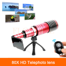 Buy 80X Metal Telephoto Zoom Lens iPhone 5 5s 6 6s 7 Plus Samsung Telescope Phone Camera Lentes Bluetooth Shutter+Tripod Holder for $210.04 in AliExpress store