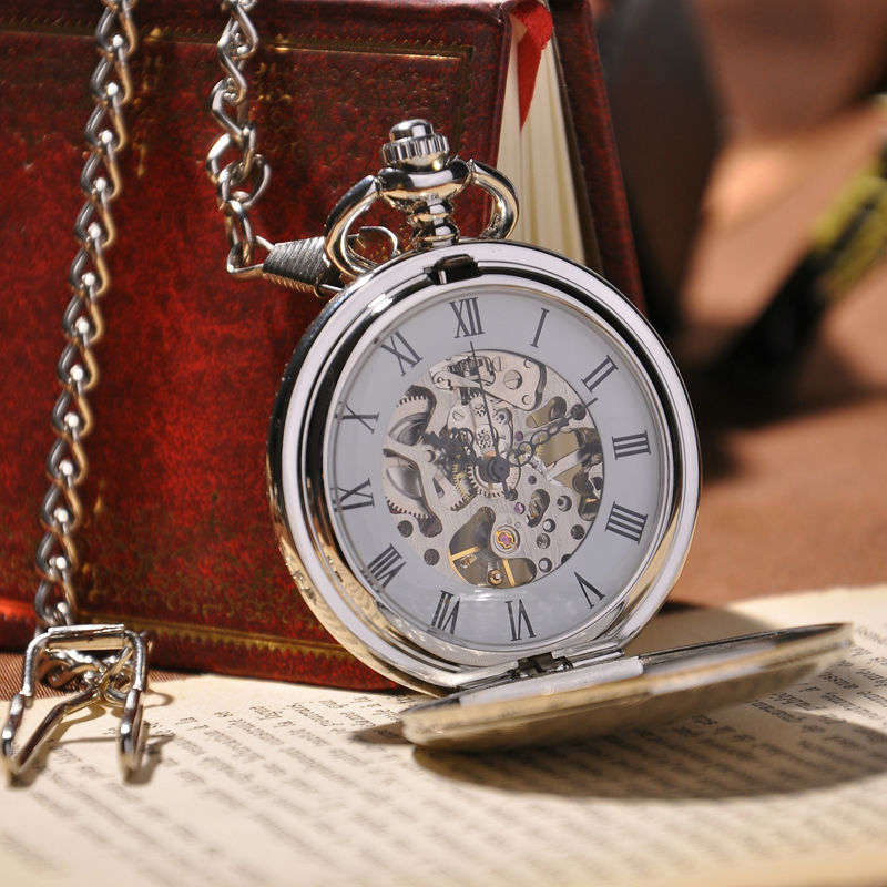 2016 New Fashion Analog Men Watch Mechanical Pocket Watch With Necklace Chain Steampunk Hand Wind Pocket Watch(China (Mainland))