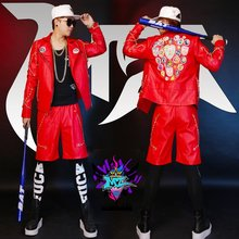 Buy Quan Zhilong GD coat personality trend men's leather jacket bar nightclub men's singer stage costumes for $149.00 in AliExpress store