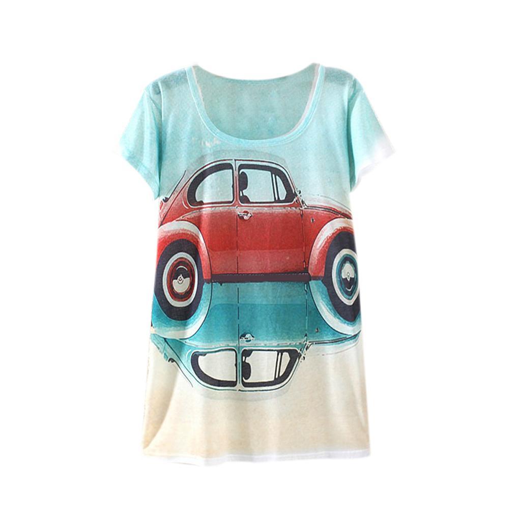 font b Women b font girl summer Round Collar T shirt beatles car printed Tshirt