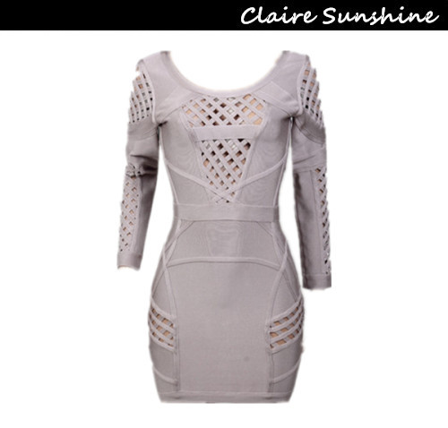 H33 2014 spring and summer khaki plaid long-sleeved round neck Slim hole exquisite evening dress sexy bandage dress partyОдежда и ак�е��уары<br><br><br>Aliexpress