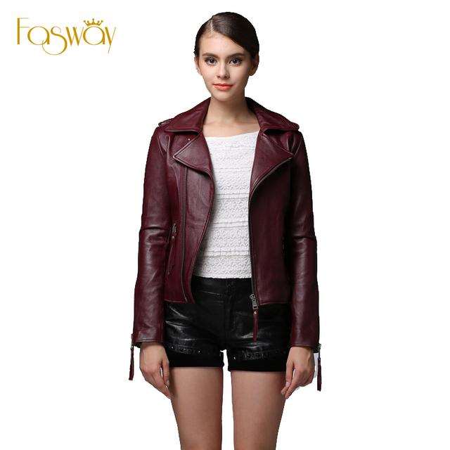 Завод женщины подлинной овчины кожаная куртка марка дизайн звезда стиля свободного ...
