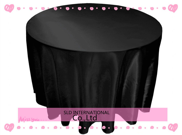 FREE SHIPPING TO RUSSIA/FREE SHIIPING TO BRAZIL 90'' Round Black Cheap Wedding Round Tablecloths