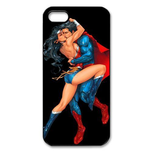 Free Shipping Superman Hot Kissing Wonder Woman #2 Plastic Case Cover Cases for Apple iPhone 5 and 5s(China (Mainland))