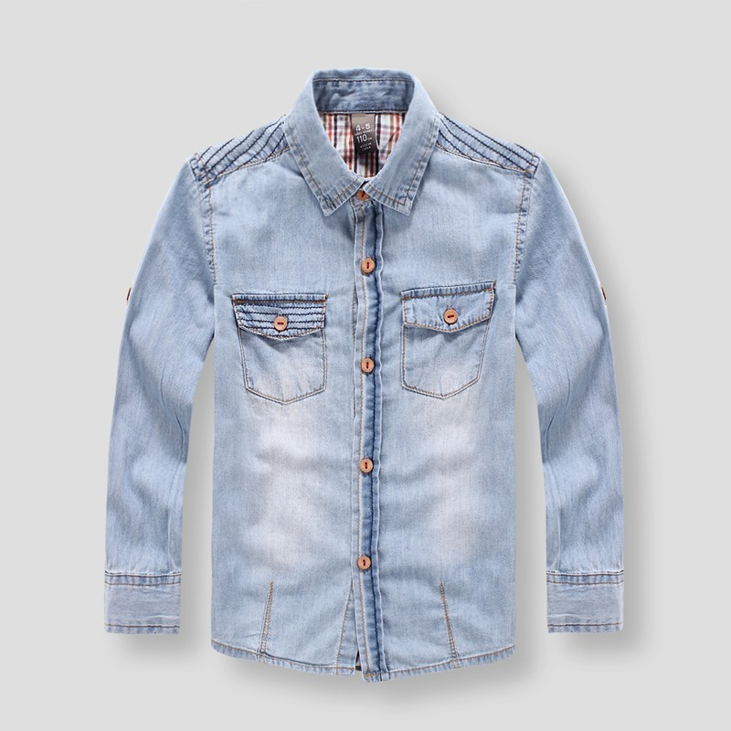 Promotion New Style Children Boy's shirts Casual Solid Denim cotton kids shirt clothin(China (Mainland))