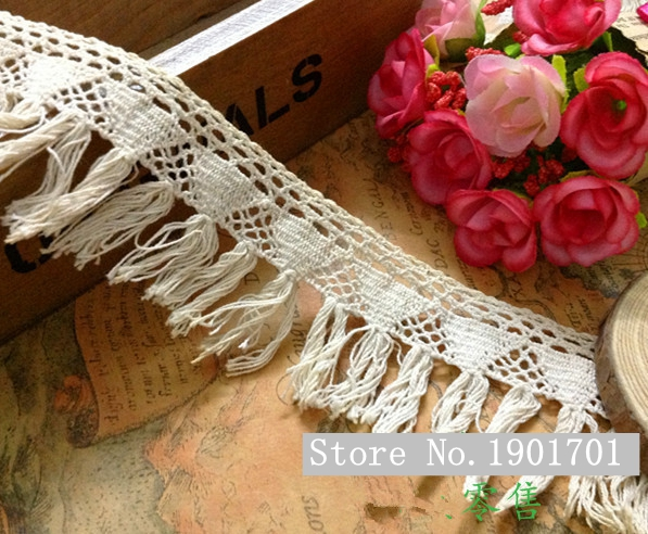 (10yds/lot width 4.5CM ) Free Shipping Vintage Beige Crochet Cotton Lace Tassels, Fringe Trimming For Sewing Garment(China (Mainland))