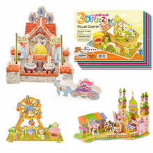 2016 New Hot sale Kids Educational Toys House Castle DIY 3D Jigsaw Puzzle For Children Adults 4 Models can choose for gift(China (Mainland))