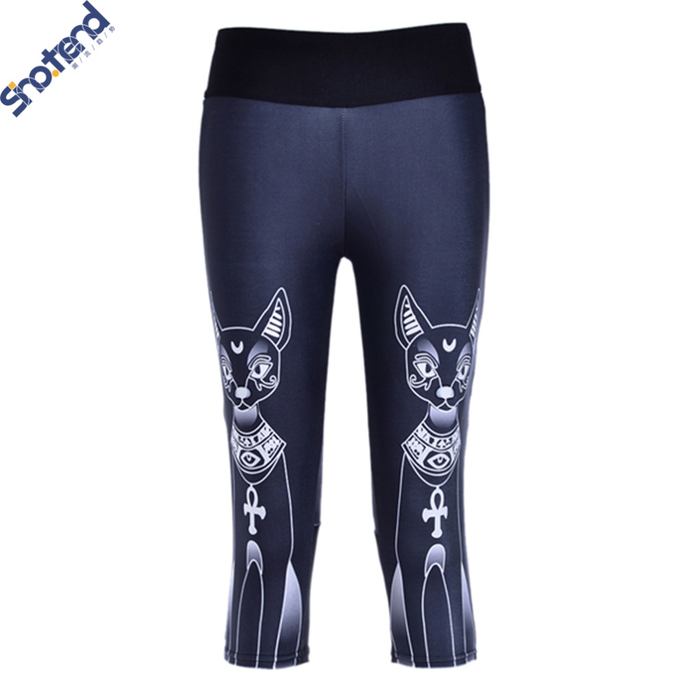 S.T Felinae Leggings Summer Women Fitness Sport Pants Black Gym Leggings Cat 3D Printed Women Jeggings Cartoon Running Pants(China (Mainland))
