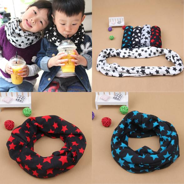 Toddlers Kids Girls Boys Snood Winter Scarf Stars Decor Scarves Baby Neckerchief(China (Mainland))