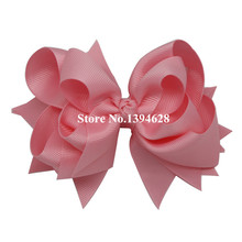 Free Shipping $1/1PCS Baby Girls Boutique Hair Bows 3 Layer Solid Light Pink Ribbon Hair Bows Toddler Bows Hair Accessories