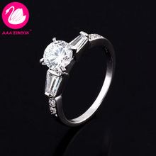 With Side Stones Prong Setting 1.8 CT Square & Round Brilliant Cut Grade AAA CZ Diamonds Wedding Ring (10717) FREE SHIPPING(China (Mainland))