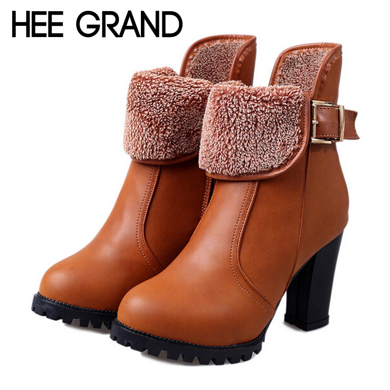 New Warm Winter Boots Flock Fur Inside Buckle Ankle Boots Sexy High Heels Pumps Slip On Women Boots Ladies Shoes Woman XWX2752<br><br>Aliexpress