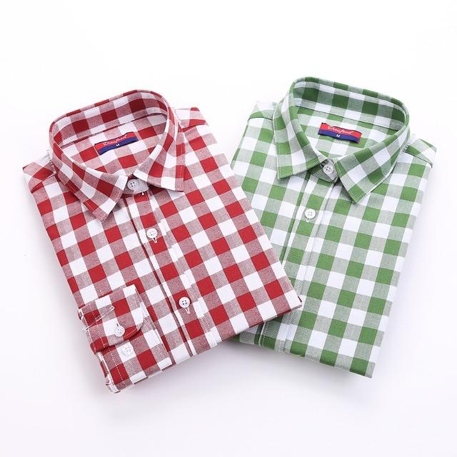 Новый Хлопок Женщин Рубашки С Длинным Рукавом Плед Блузка Turn вниз Воротник Blusas ...