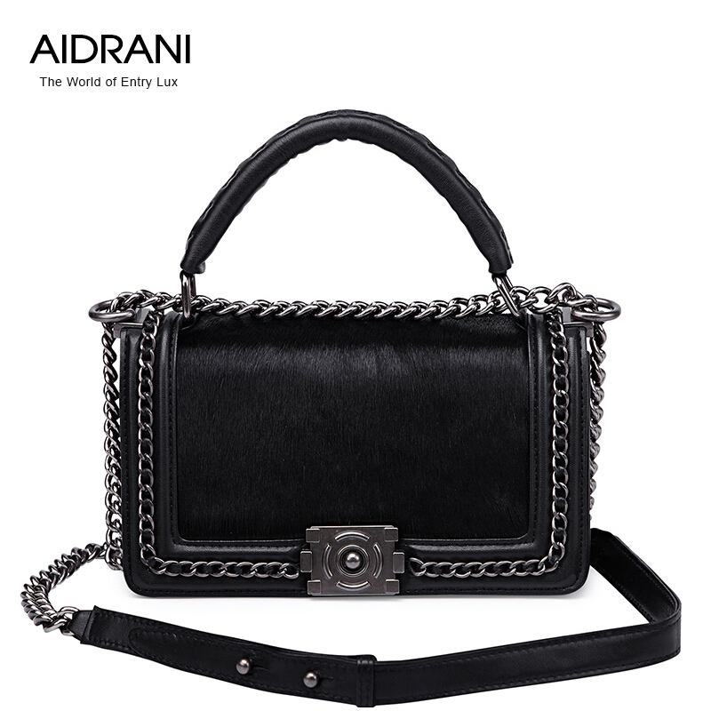 2016 Aidrani Brand Genuine Leather Women Bag Fashion Chain Women Totes Fur Vintage Sheepskin Shoulder Crossbody Bags<br><br>Aliexpress