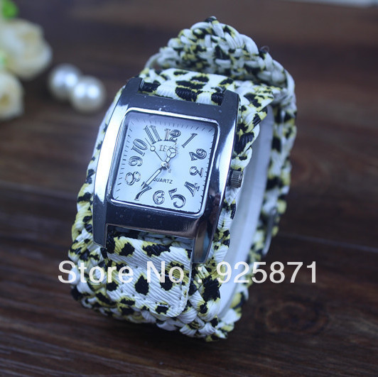 2013 hot wholesale PU leather watches women watches Rectangular PU Woven strap dial Leopard grain colorful Free Shipping P002