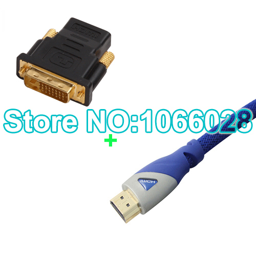 Free shipping (2M/6.6FT) 1PCS high quality HDMI Cable+1PCS hdmi Female to DVI Male adapter(China (Mainland))