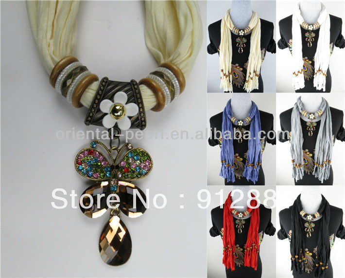 Lady High Fashion Pendant Scarves With Flower Butterfly Jewelry ScarfОдежда и ак�е��уары<br><br><br>Aliexpress