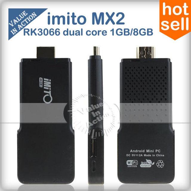 New Arrival iMito MX2 Dual Core Mini PC Android 4.2.2 TV Box RK3066 Built-in Bluetooth 1GB RAM 8GB ROM black