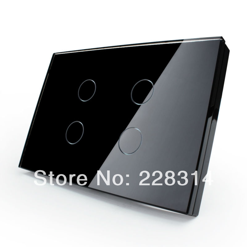 Home Automation, Black Crystal Glass Panel, AU / US standard Touch Light Switch, Wall Switch 4 ...