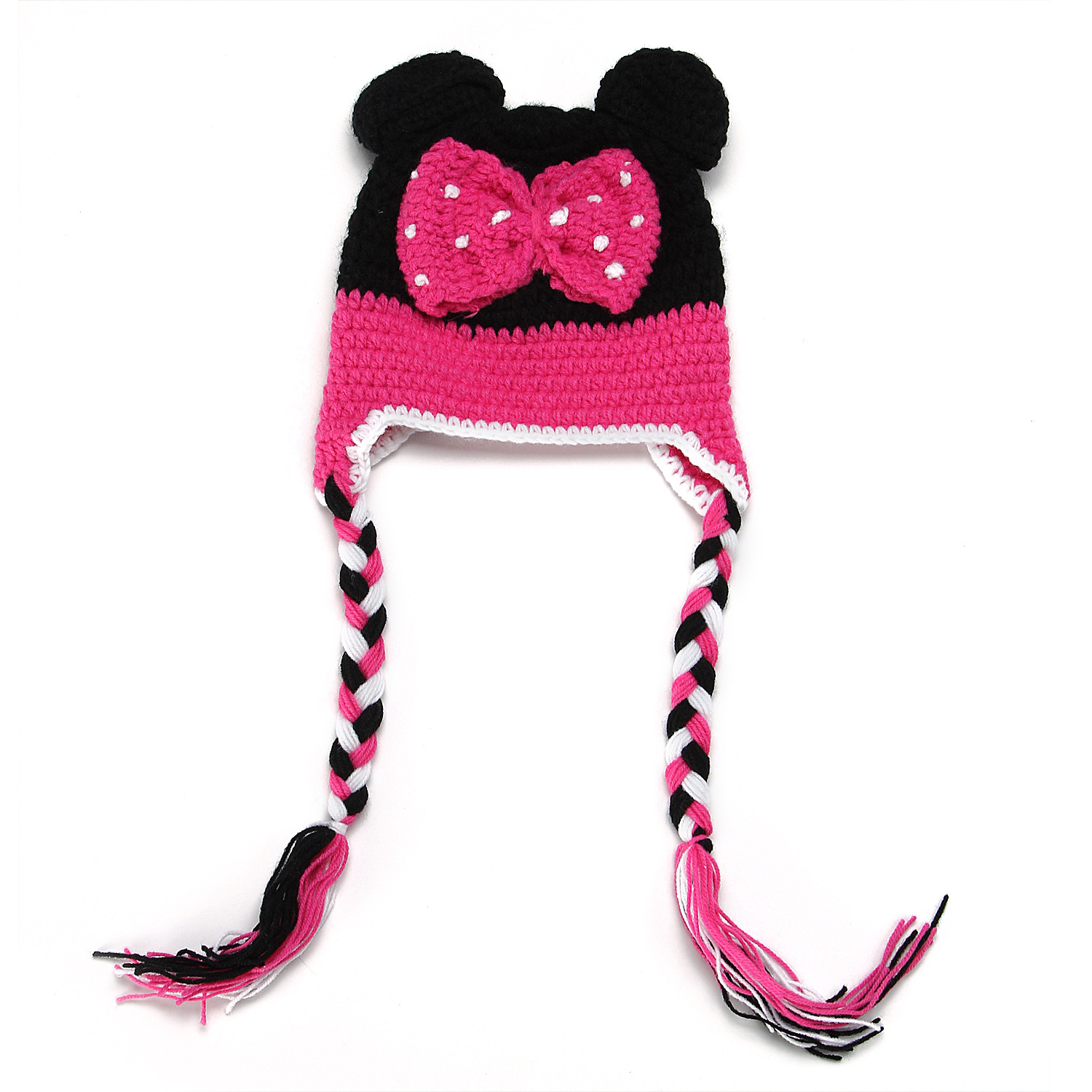 2015 Top Fashion Baby Knit Hat Cute Style Hand Woven Hats Mickey Bow Cap Supplies Accessories Handmade Newborn Photography Props(China (Mainland))