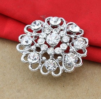 Min order is US10 (mix order) Cheap Beautiful Silver Color Clear Rhinestone Crystal Small Flower Pin Brooch