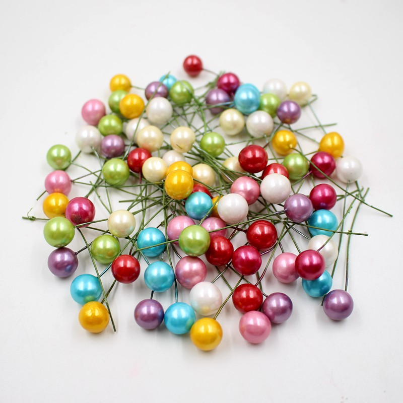 40pcs / lot mini plastic small berries Artificial flower stamens cherry pearlescent wedding DIY gift boxes decorated wreaths(China (Mainland))