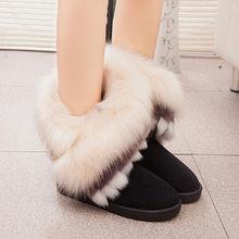 2018 Vrouwen Sneeuw Enkellaarsjes Vrouwelijke Vos Bont Winter Laarzen Warme Australië Booties Mode Schoenen Botas(China)