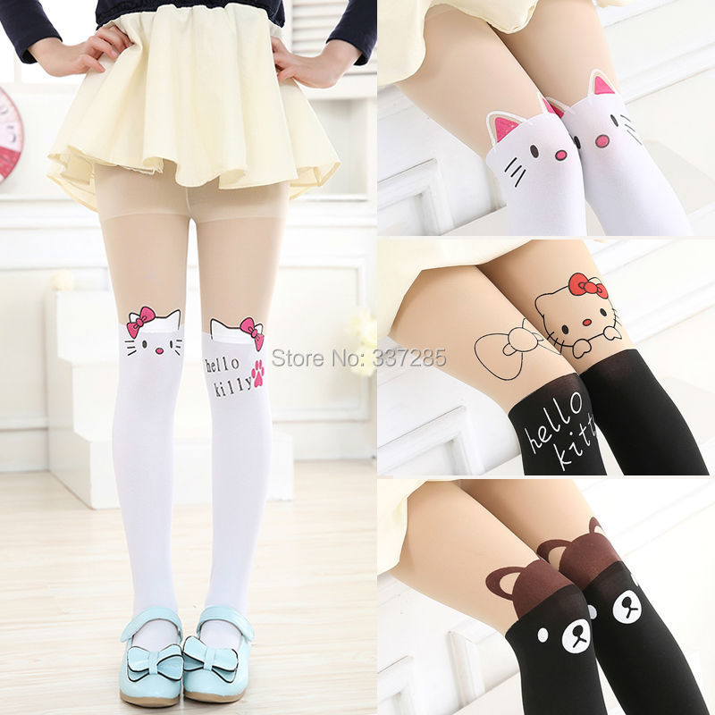 New free shopping children Baby Kids Girls tights cute pantyhose hello kitty Knee lovely tattoo tights pantyhose girls stocking(China (Mainland))