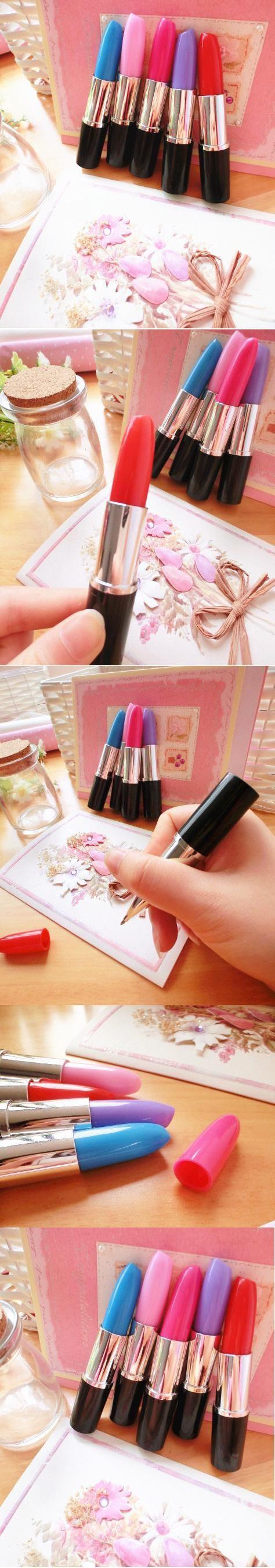 Lovely lipstick ball-point pen Creative kawaii material escolar caneta boligrafos school supplies boligrafos de marca minion