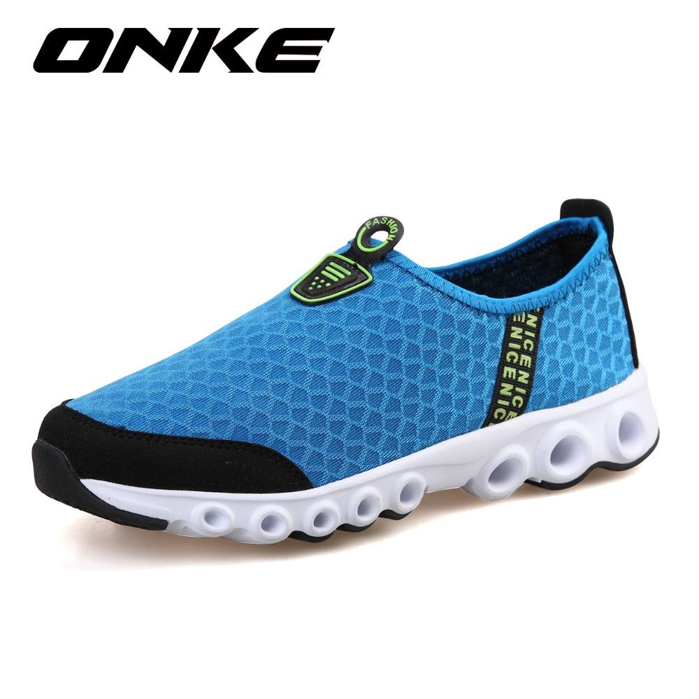 Onke 2016 Running Shoes Men Women Super Light Mesh Sport Shoes Woman Breathable Sneakers Outdoor Blue Runner Shoes