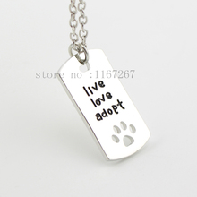 """2015 new Rectangular Dog Tag Style  Cat Dogs """" live love adopt """" silver pendant necklace Pet Rescue Paw Print Tag Jewelry !(China (Mainland))"""
