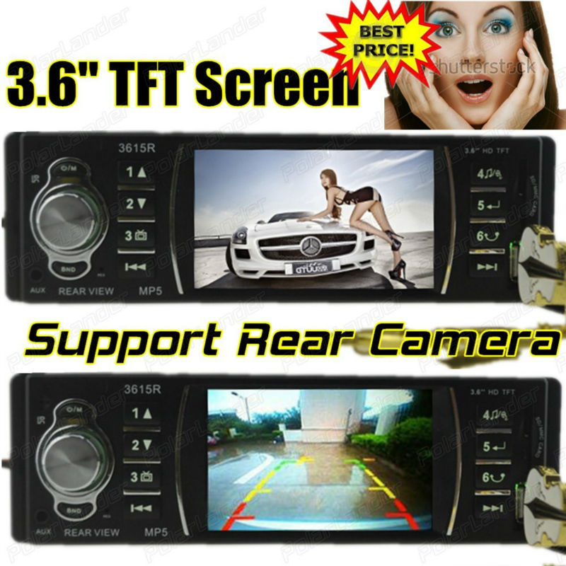 Car Raido 12V 3.6 inch HD TFT screen Car audio player mp5 car stereo With remote control SD/USB/AUX IN Support rear view camera(China (Mainland))