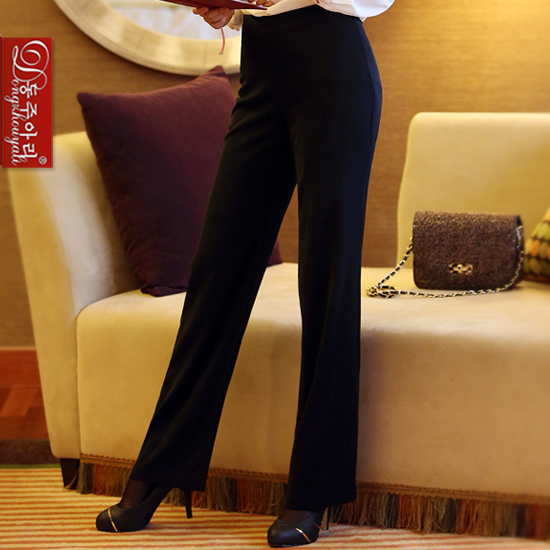 2016 spring autumn elegant women high waist straight pants slim trousers plus size black formal work - Fashion and Romantic Store store